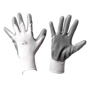 Guanti Officina in nylon bianco spalmati in nitrile grigio HK IC173